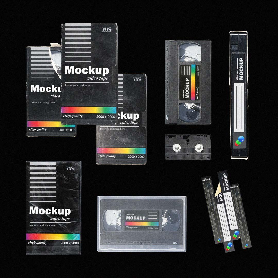[淘宝购买] 多角度做旧复古磁带纸盒设计展示样机合集 VHS Tape Mockup Pack插图