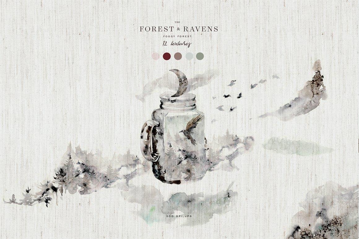 100多款高清手绘花卉植物山脉水彩画PNG透明图片素材 Woodland Ravens Field插图(15)