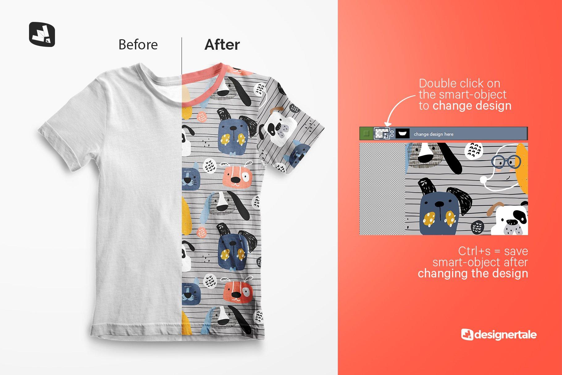 顶视图男孩夏季半袖T恤衫样机模板 Top view Boy's Summer Tshirt Mockup插图(1)