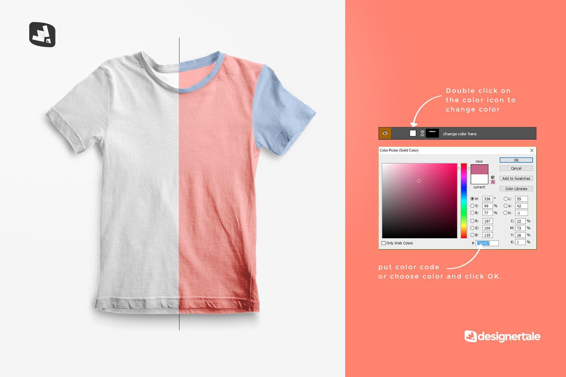 顶视图男孩夏季半袖T恤衫样机模板 Top view Boy's Summer Tshirt Mockup插图(2)