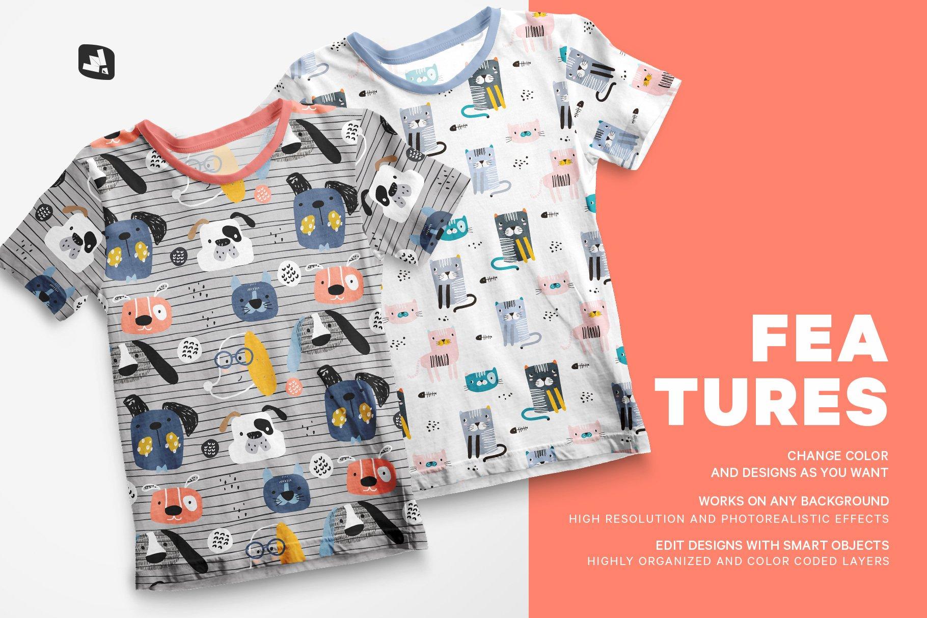 顶视图男孩夏季半袖T恤衫样机模板 Top view Boy's Summer Tshirt Mockup插图(6)