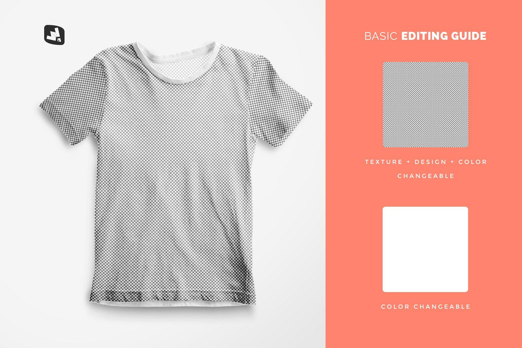 顶视图男孩夏季半袖T恤衫样机模板 Top view Boy's Summer Tshirt Mockup插图(7)
