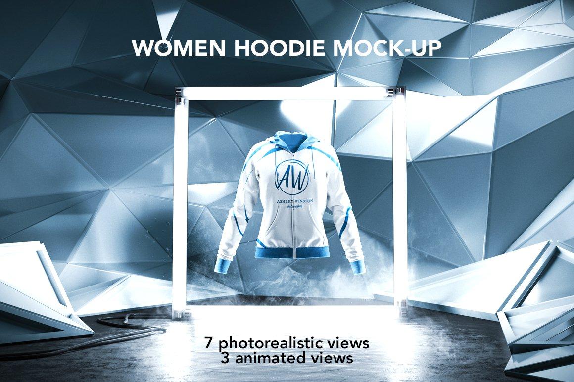 女士连衣帽卫衣设计动态展示样机 Women Hoodie Mockup Animated Shots插图