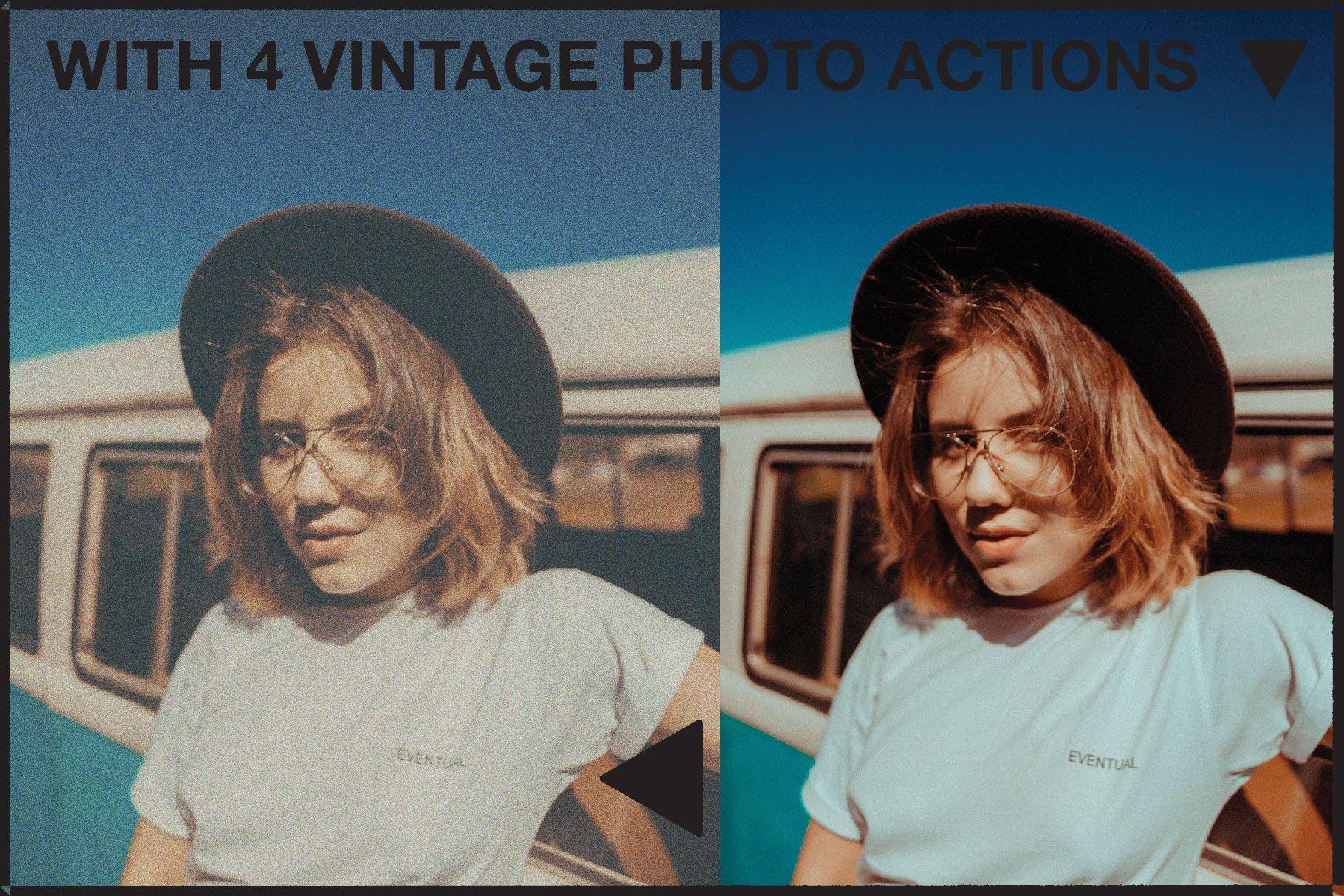 复古老式胶片胶卷边框图层叠加样机照片处理动作模板 Vintage Film Photo Mockup Bundle插图(3)