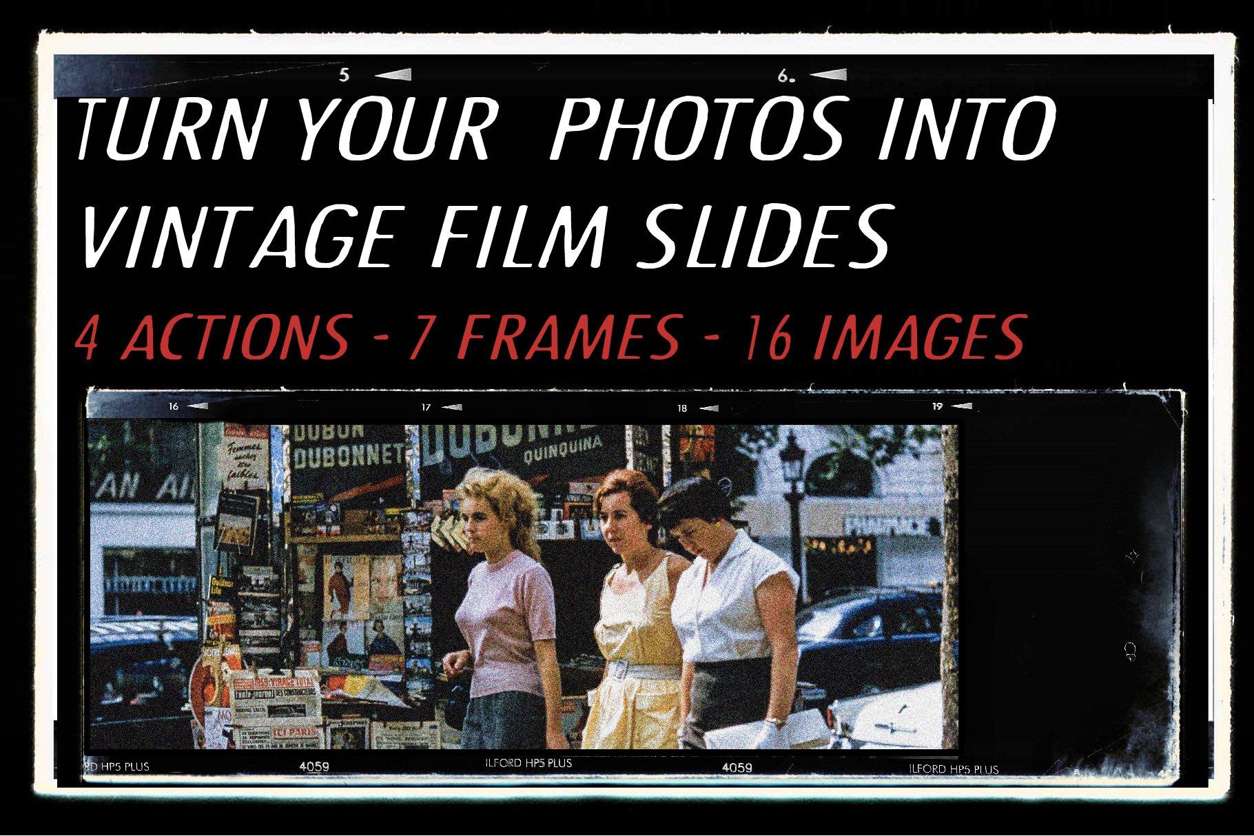 复古老式胶片胶卷边框图层叠加样机照片处理动作模板 Vintage Film Photo Mockup Bundle插图