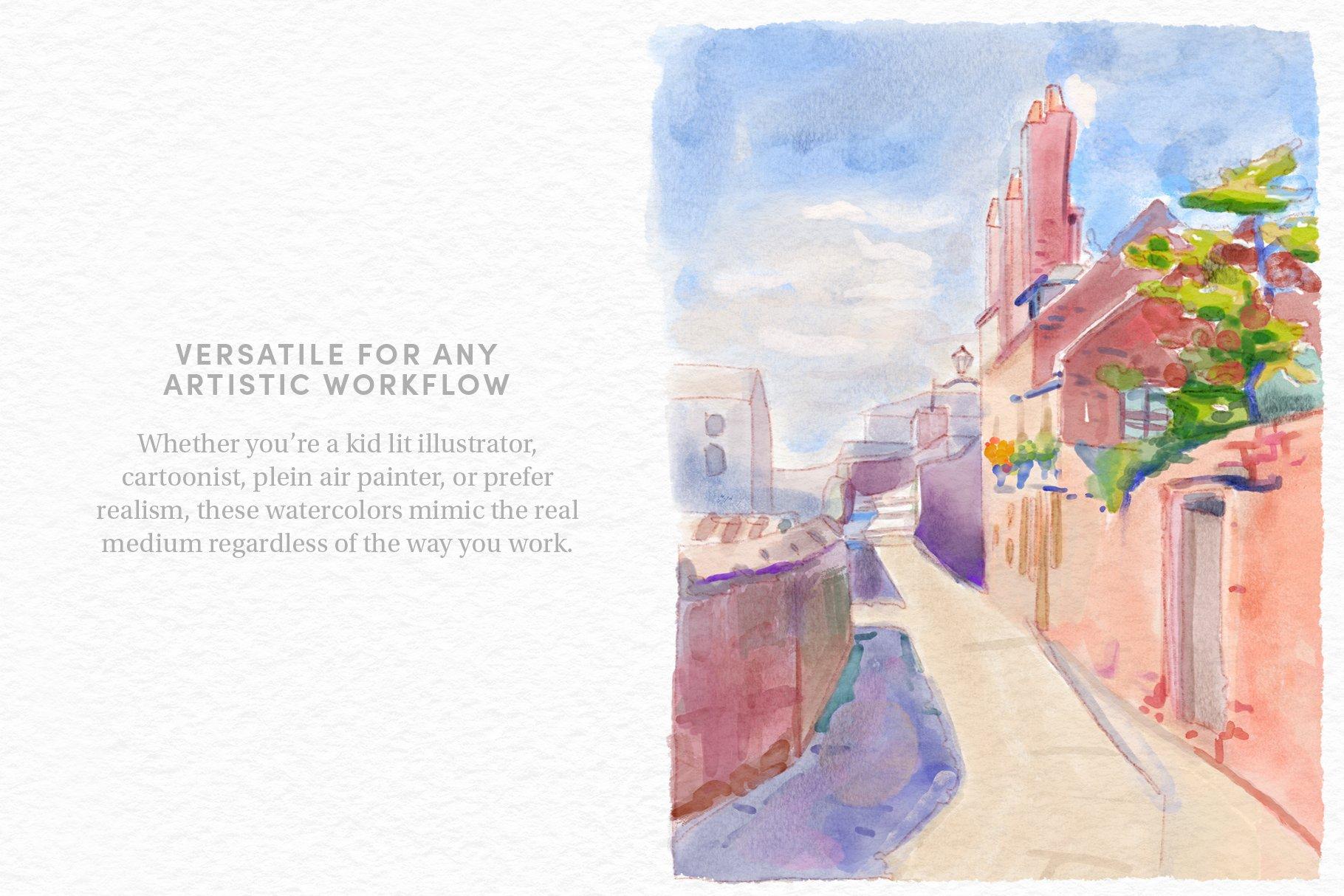 26款逼真水彩绘画纹理效果Procreate笔刷 Watercolor Kit – Procreate Brushes插图(12)