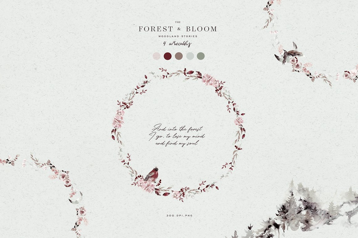 100多款高清手绘花卉植物山脉水彩画PNG透明图片素材 Woodland Ravens Field插图(17)