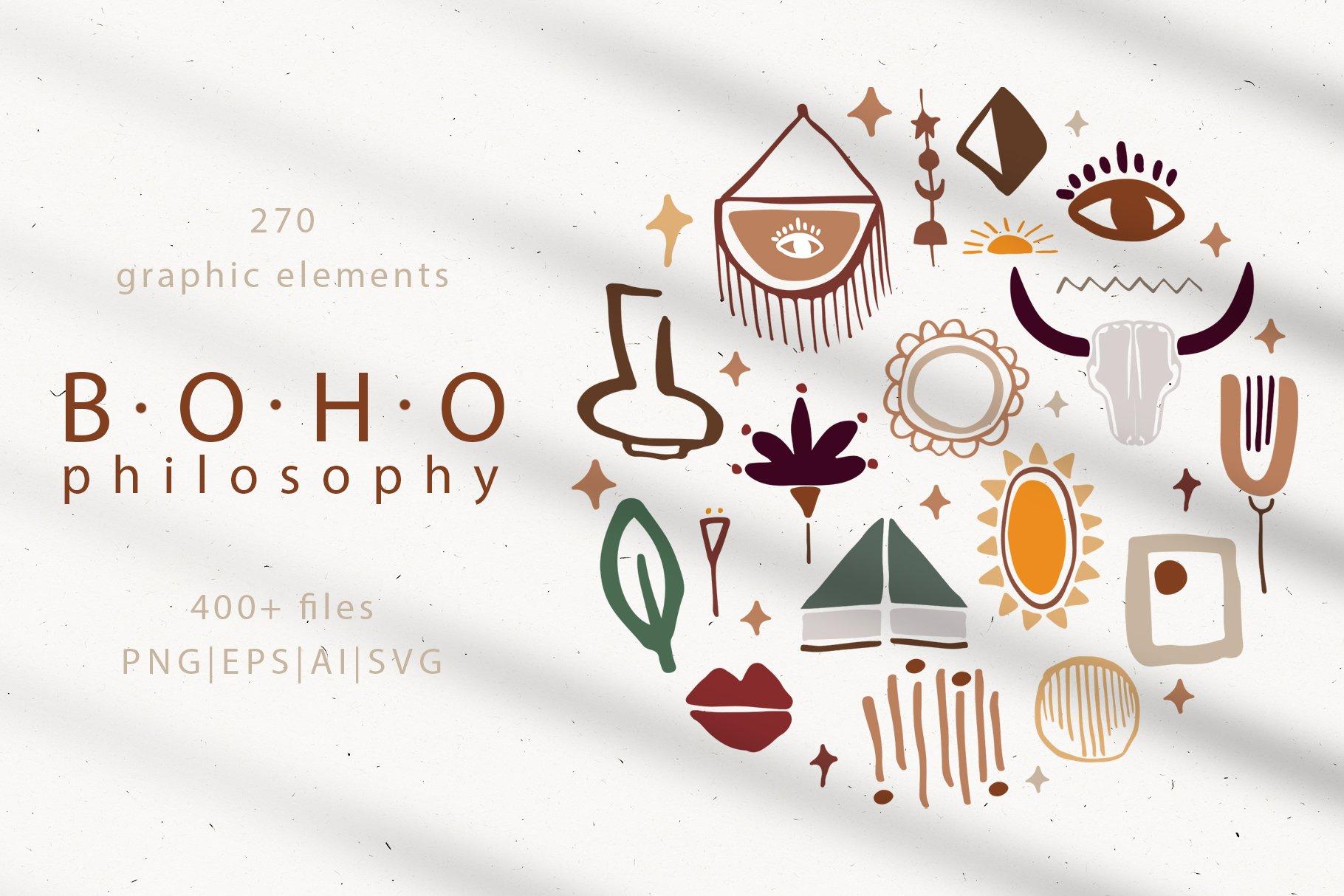 400多个波西米亚元素装饰图案背景AI图片素材 Boho Philosophy Collection插图