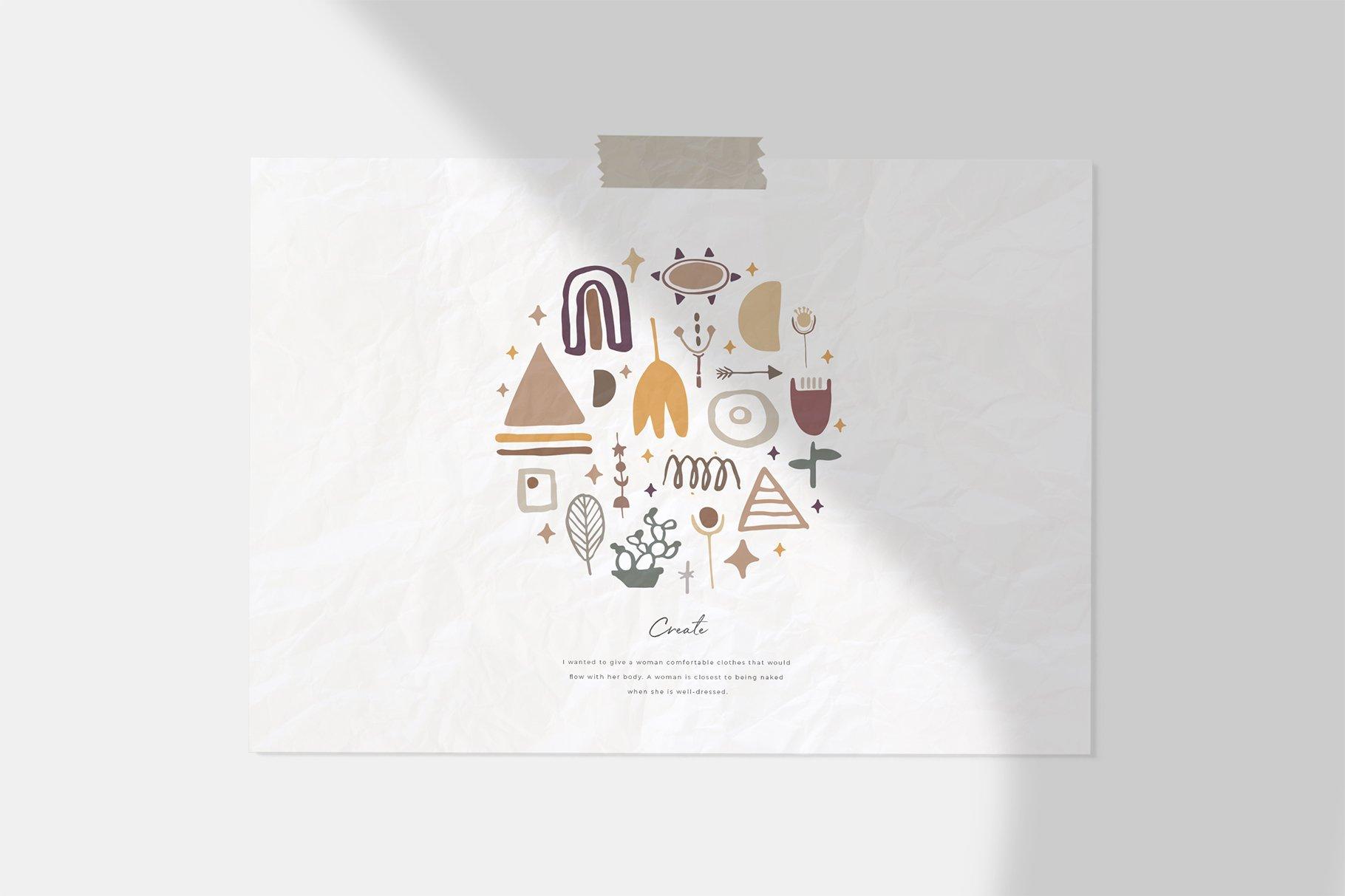 400多个波西米亚元素装饰图案背景AI图片素材 Boho Philosophy Collection插图(1)