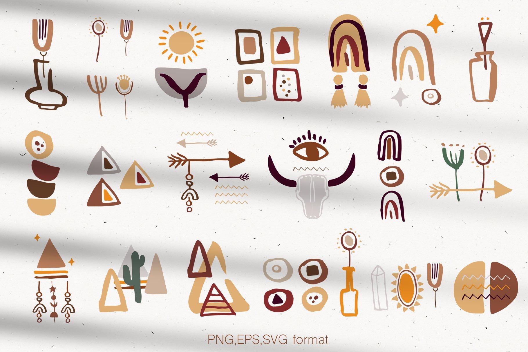 400多个波西米亚元素装饰图案背景AI图片素材 Boho Philosophy Collection插图(10)