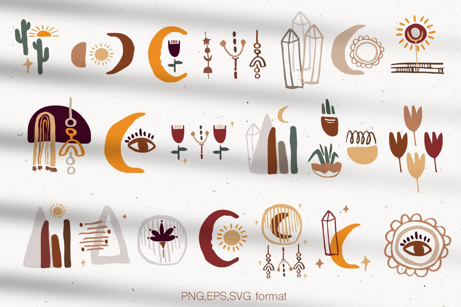 400多个波西米亚元素装饰图案背景AI图片素材 Boho Philosophy Collection插图(11)