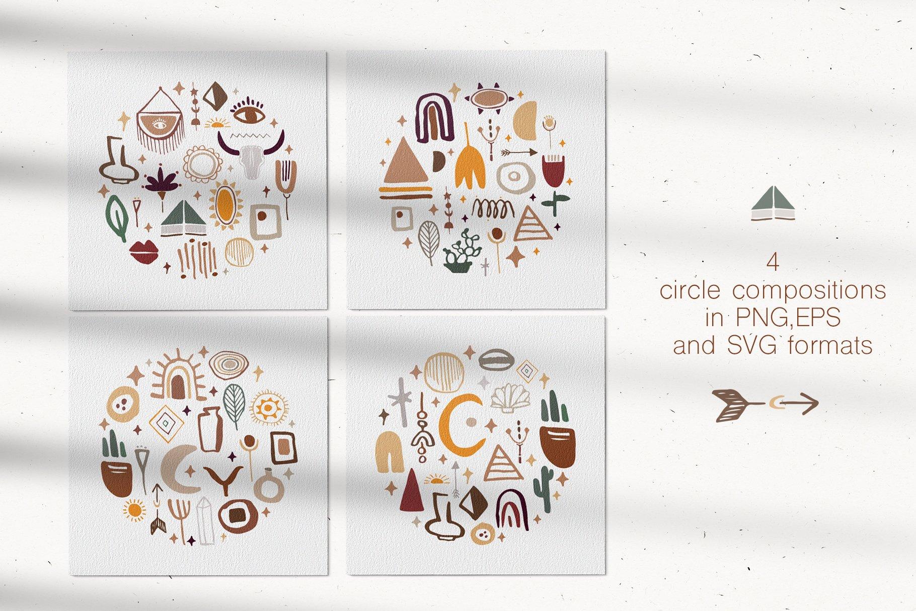 400多个波西米亚元素装饰图案背景AI图片素材 Boho Philosophy Collection插图(7)