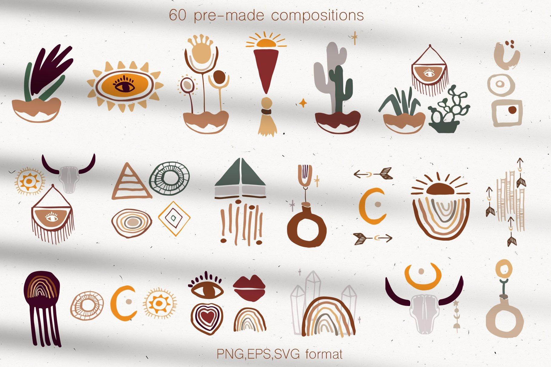400多个波西米亚元素装饰图案背景AI图片素材 Boho Philosophy Collection插图(9)