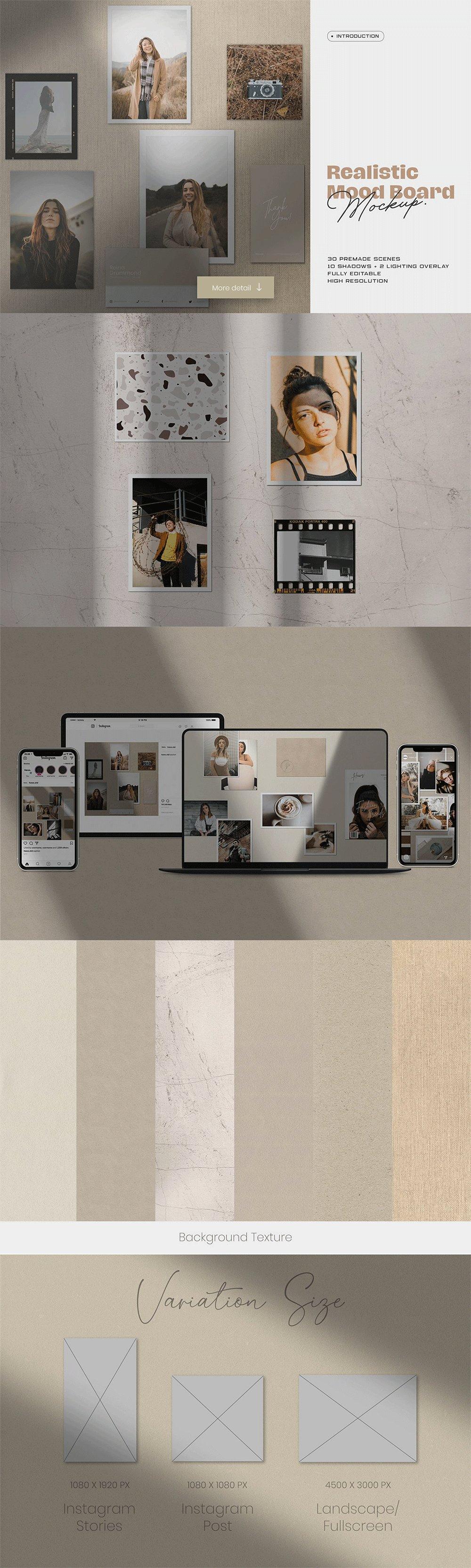 [淘宝购买] 10套文艺情绪板摄影相片卡片拼贴设计PSD源文件 Bundle Moodboard Mockup V1插图(1)