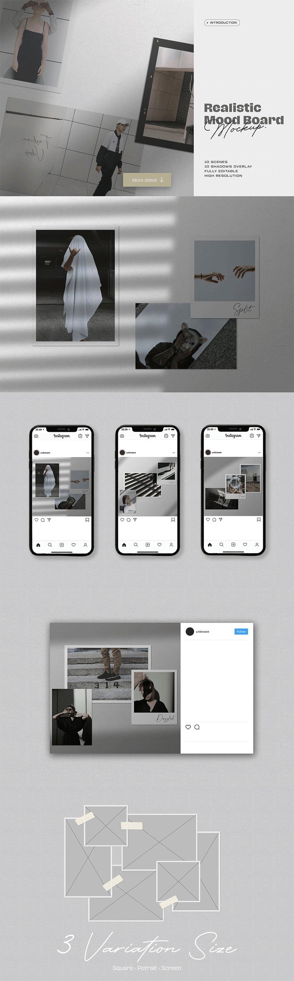 [淘宝购买] 10套文艺情绪板摄影相片卡片拼贴设计PSD源文件 Bundle Moodboard Mockup V1插图(4)