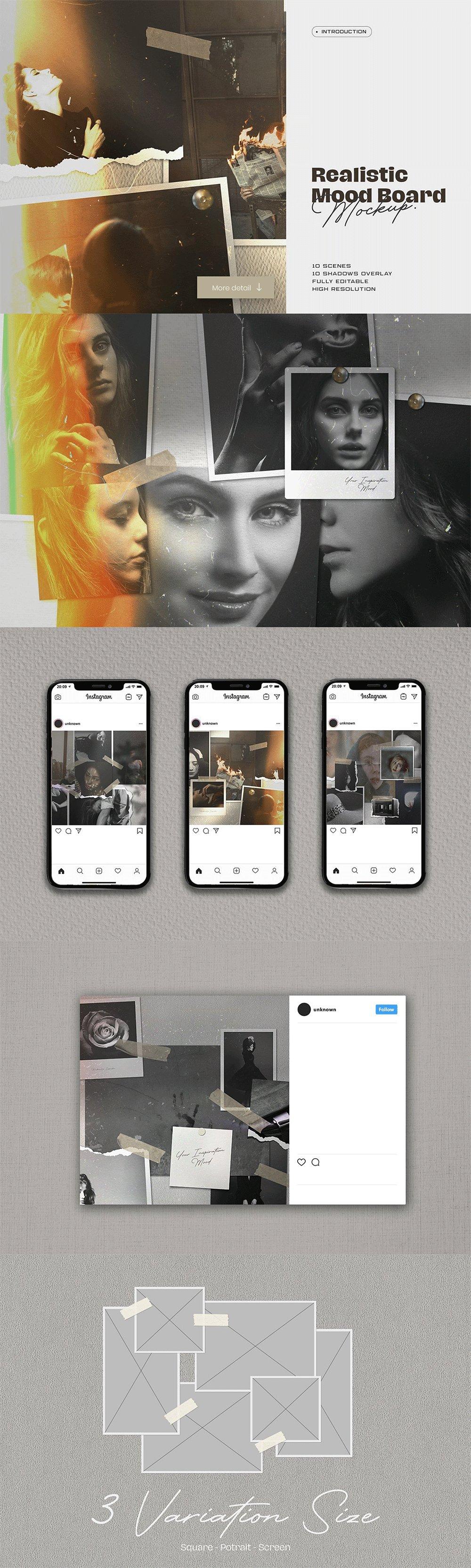 [淘宝购买] 10套文艺情绪板摄影相片卡片拼贴设计PSD源文件 Bundle Moodboard Mockup V1插图(7)