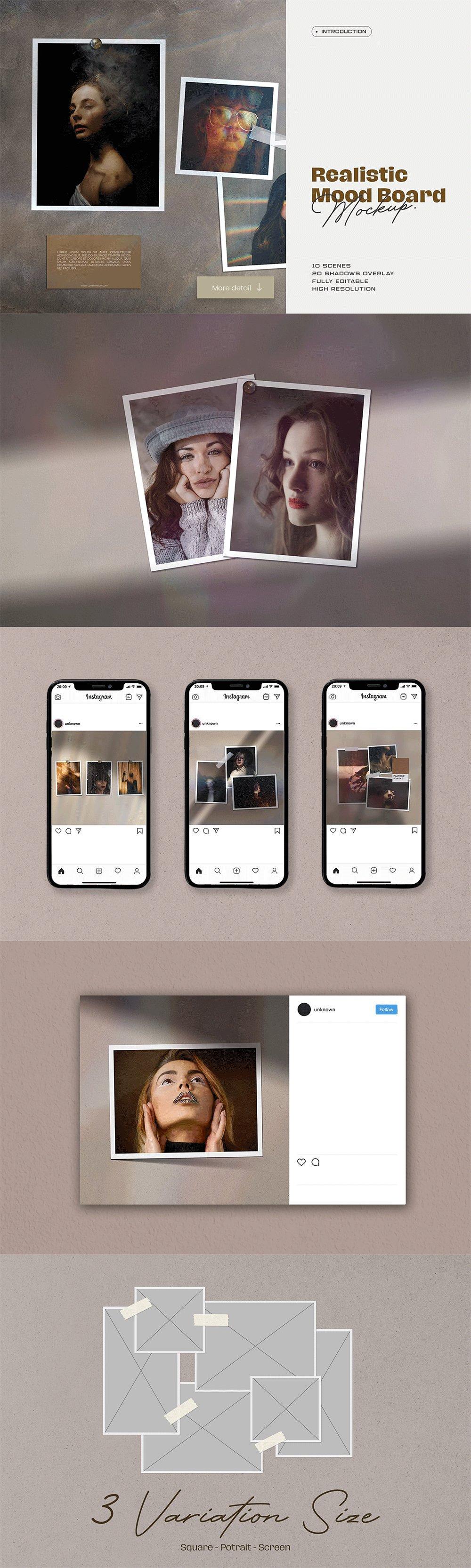 [淘宝购买] 10套文艺情绪板摄影相片卡片拼贴设计PSD源文件 Bundle Moodboard Mockup V1插图(8)