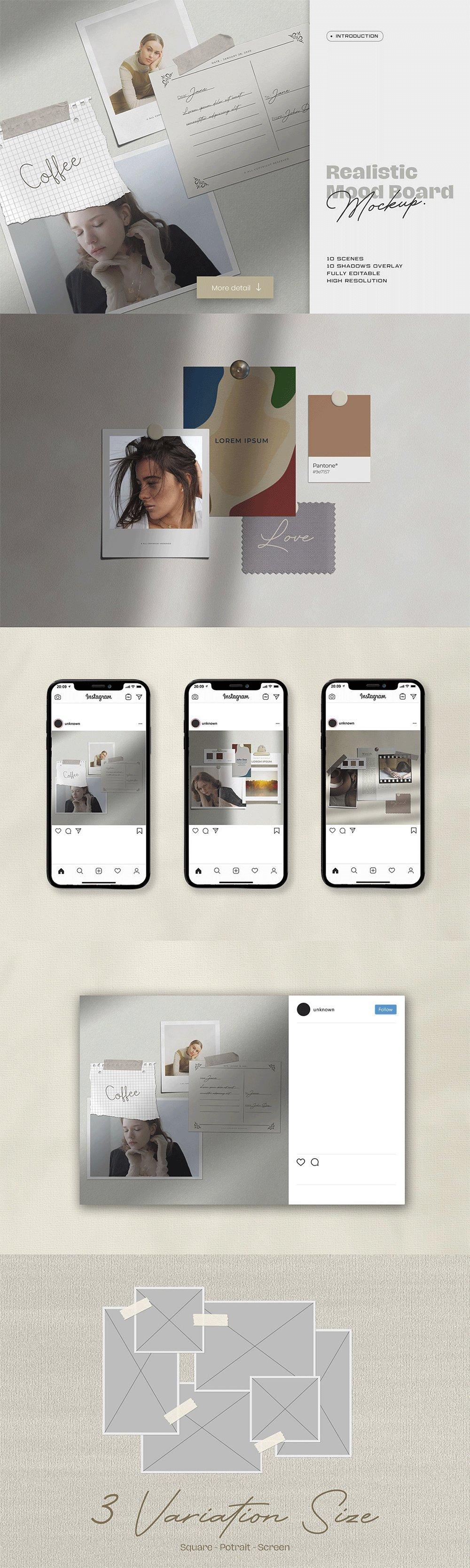 [淘宝购买] 10套文艺情绪板摄影相片卡片拼贴设计PSD源文件 Bundle Moodboard Mockup V1插图(9)