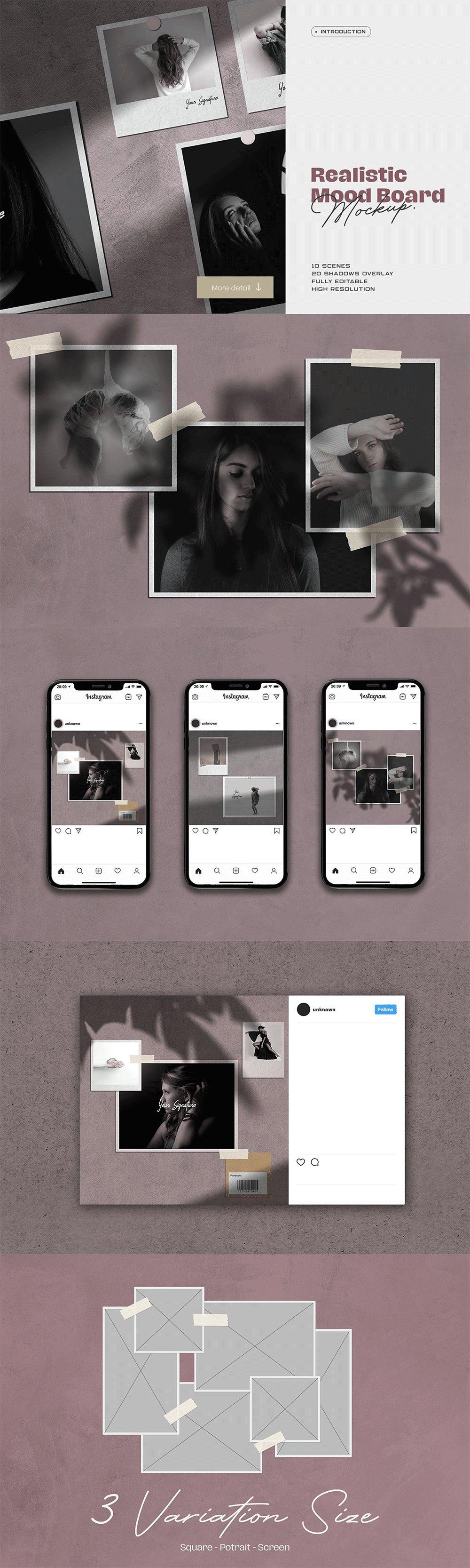 [淘宝购买] 10套文艺情绪板摄影相片卡片拼贴设计PSD源文件 Bundle Moodboard Mockup V1插图(10)