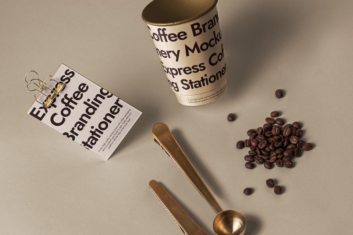咖啡品牌设计名片纸杯展示样机模板 Branding Psd Coffee Set Mockup插图