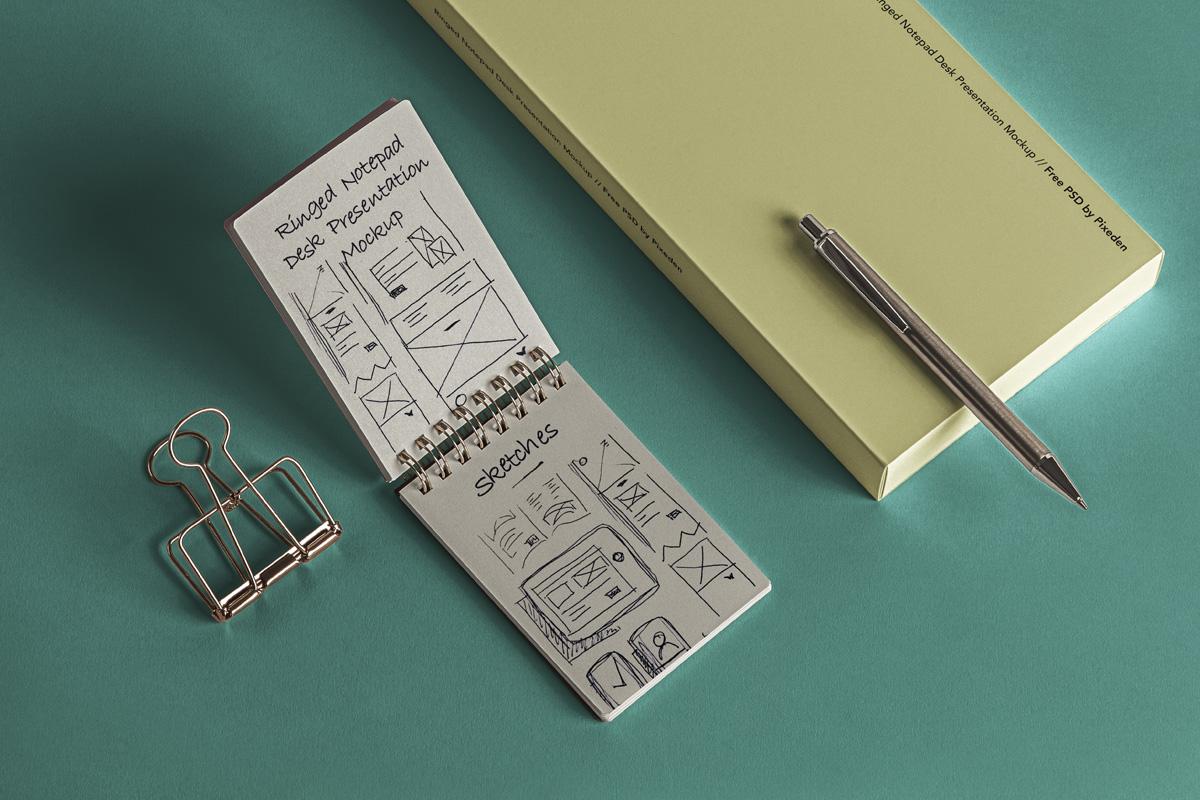 简约铁环笔记本包装盒设计展示样机模板 Desk Psd Ringed Notepad Mockup插图