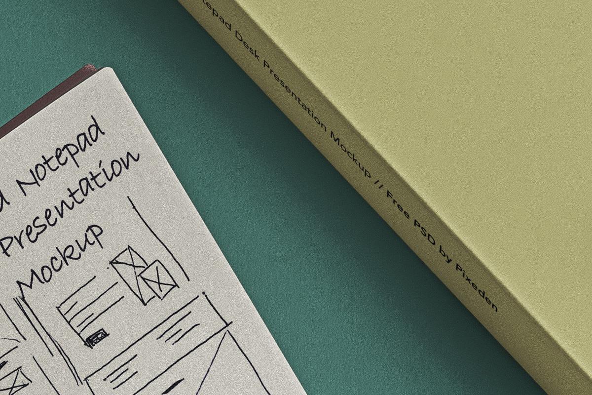 简约铁环笔记本包装盒设计展示样机模板 Desk Psd Ringed Notepad Mockup插图(3)