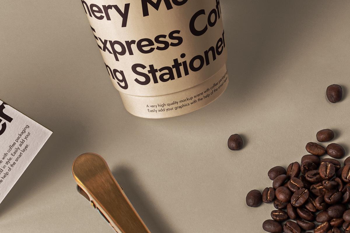 咖啡品牌设计名片纸杯展示样机模板 Branding Psd Coffee Set Mockup插图(4)