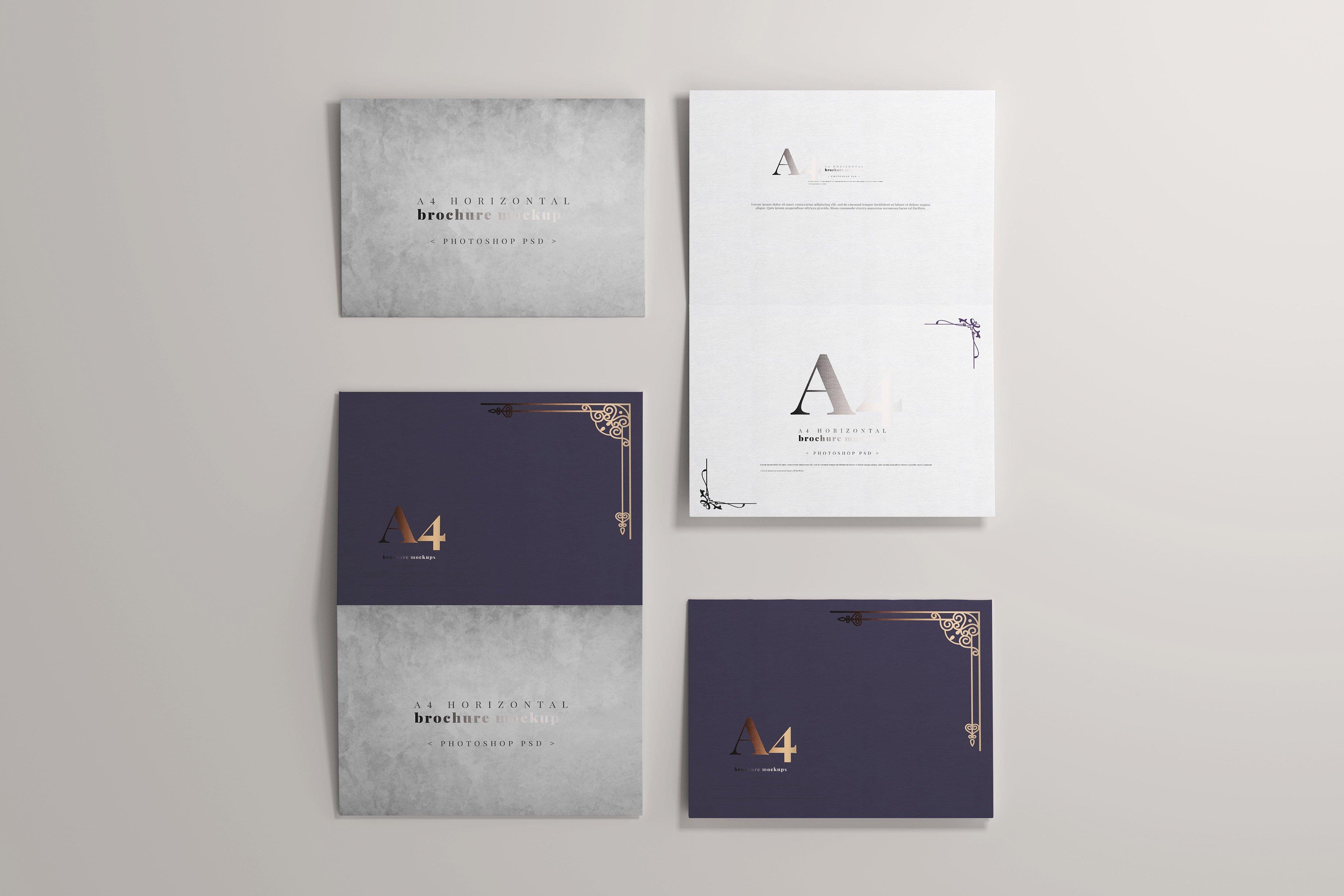 8款烫印效果A4横向两折页小册子设计展示贴图PSD样机模板 A4 Bi-Fold Horizontal Mockups插图