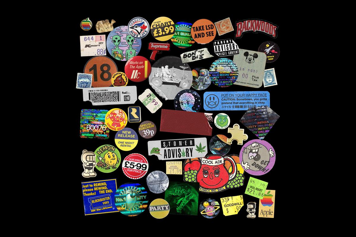 [淘宝购买] 54个复古全息镭射不干胶标签贴纸PNG免抠图片素材 Nostalgic Sticker Pack插图