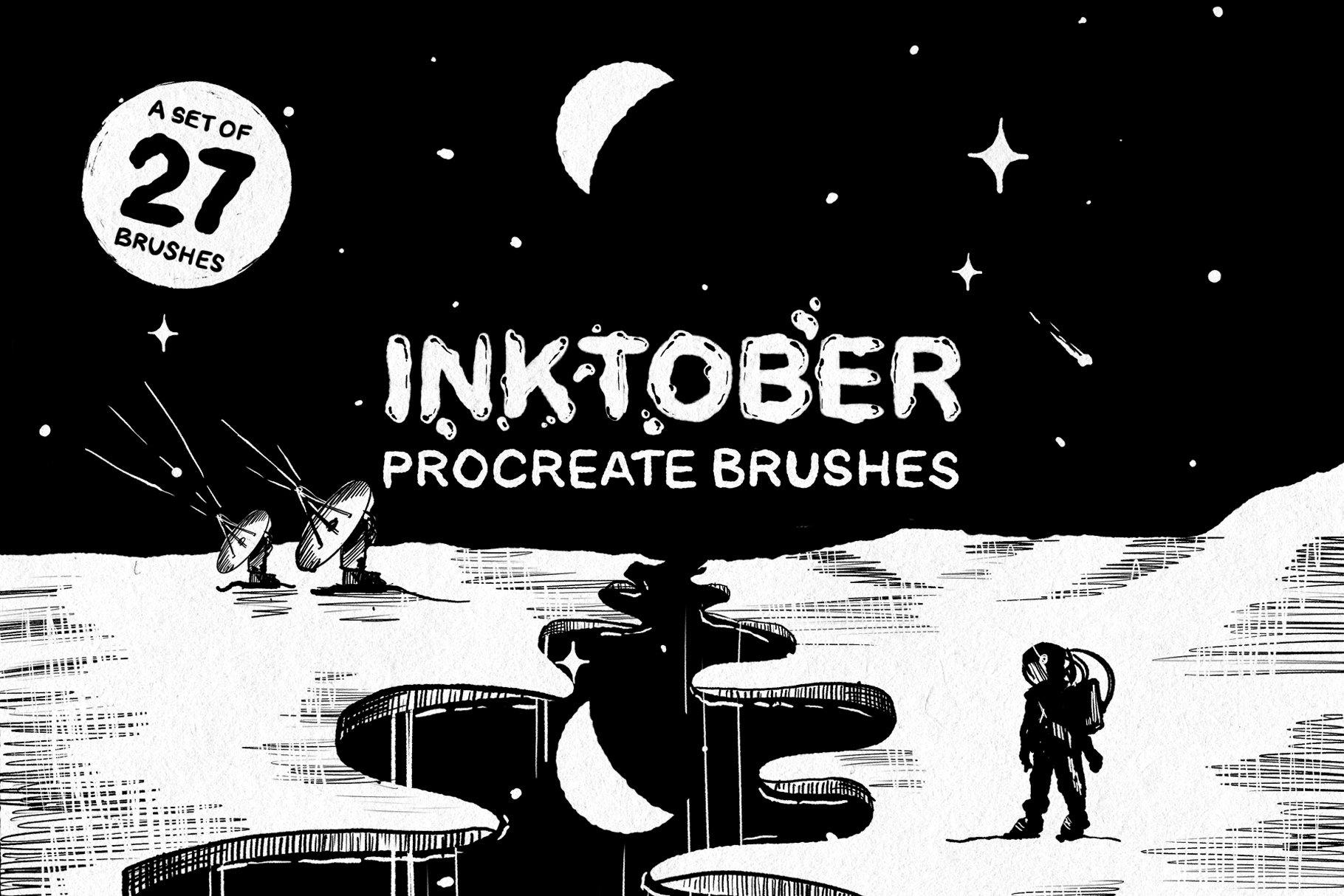 27款墨水阴影点状线条效果绘画画笔Procreate笔刷 Inktober Procreate Brushes插图