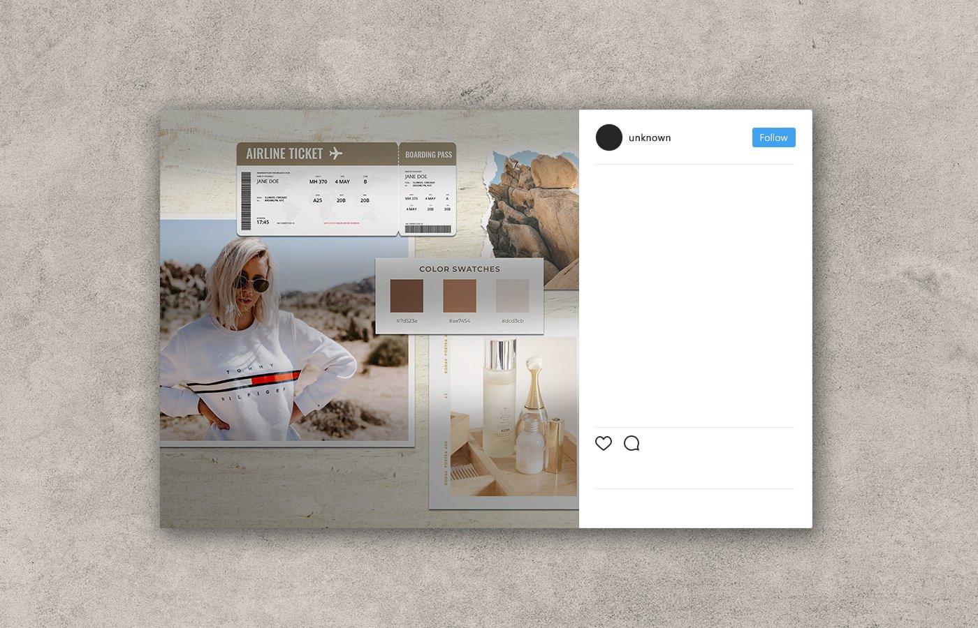 时尚剪贴相片情绪版卡片设计展示样机模板 Moodboard Mockup Kit插图(1)