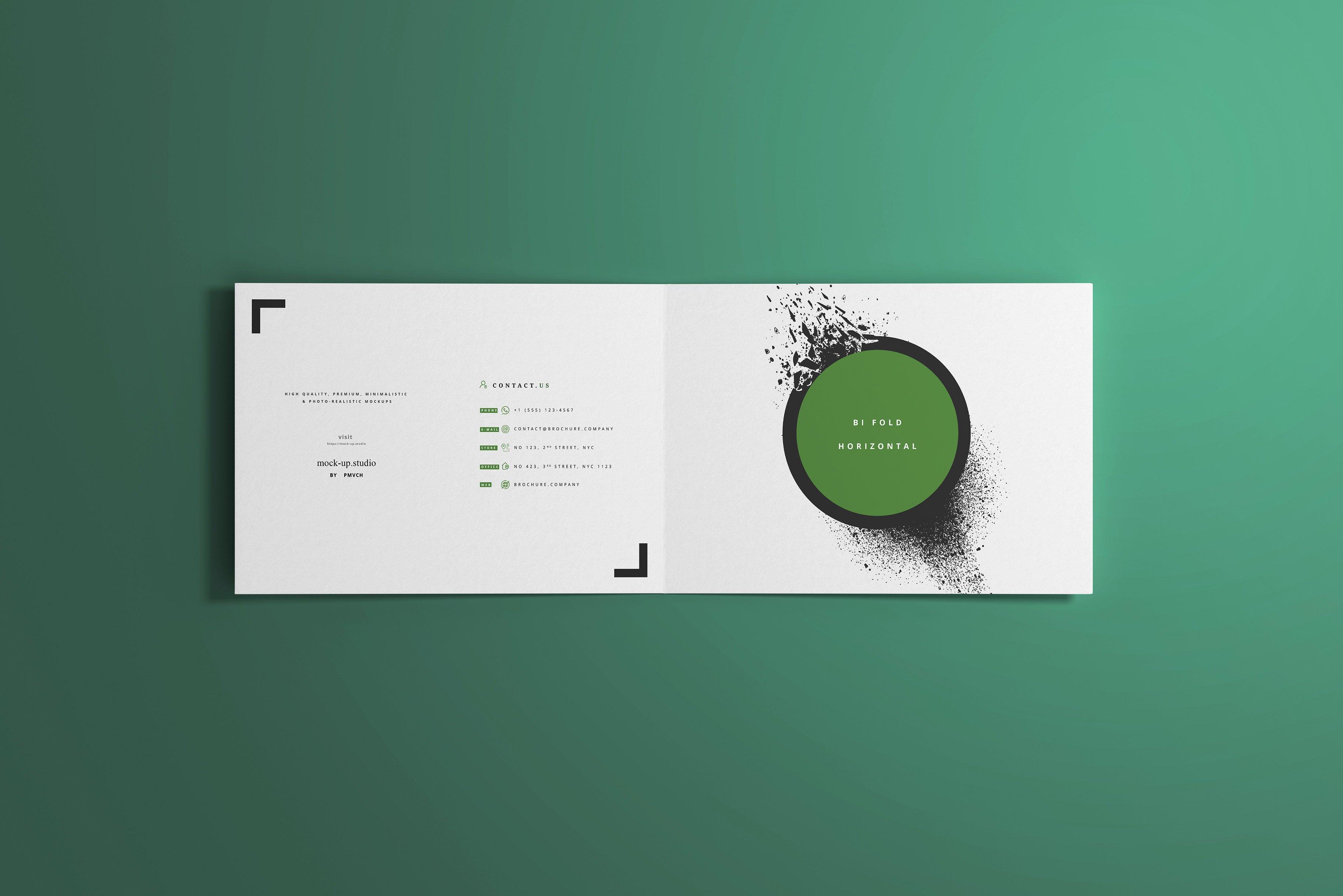 8款A4两折页小册子设计展示贴图样机模板 A4 Bi-Fold Horizontal Mockups插图(1)