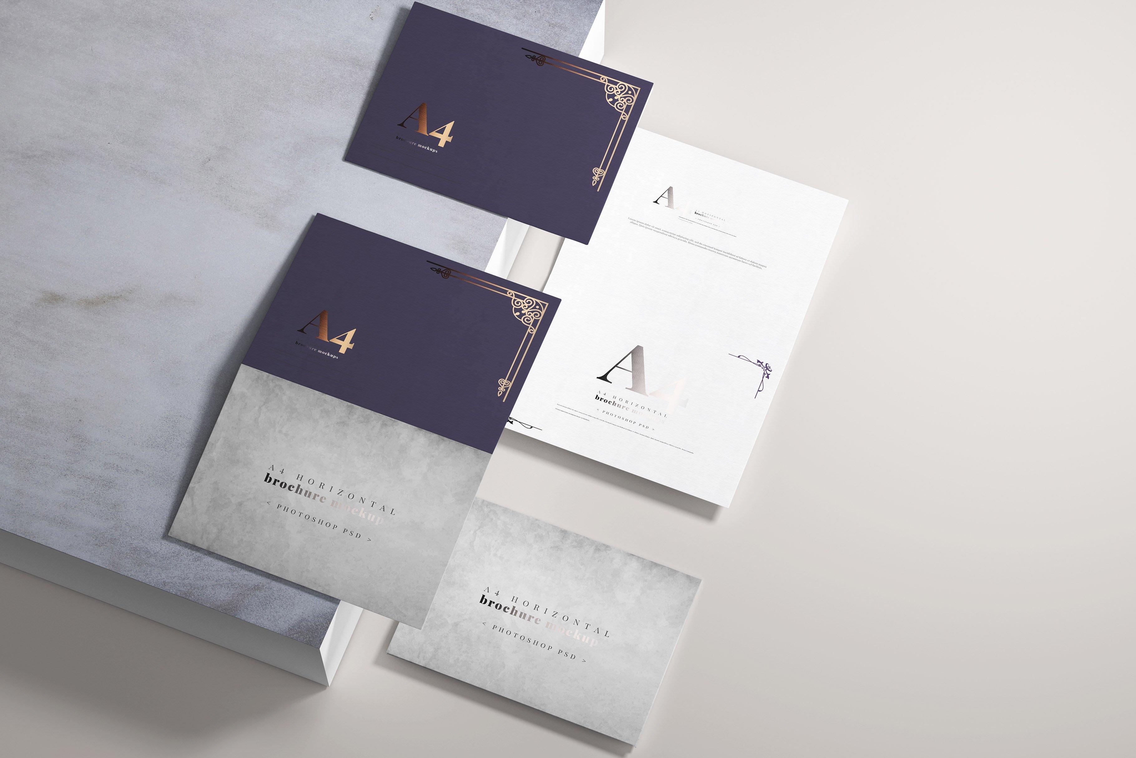 8款烫印效果A4横向两折页小册子设计展示贴图PSD样机模板 A4 Bi-Fold Horizontal Mockups插图(1)