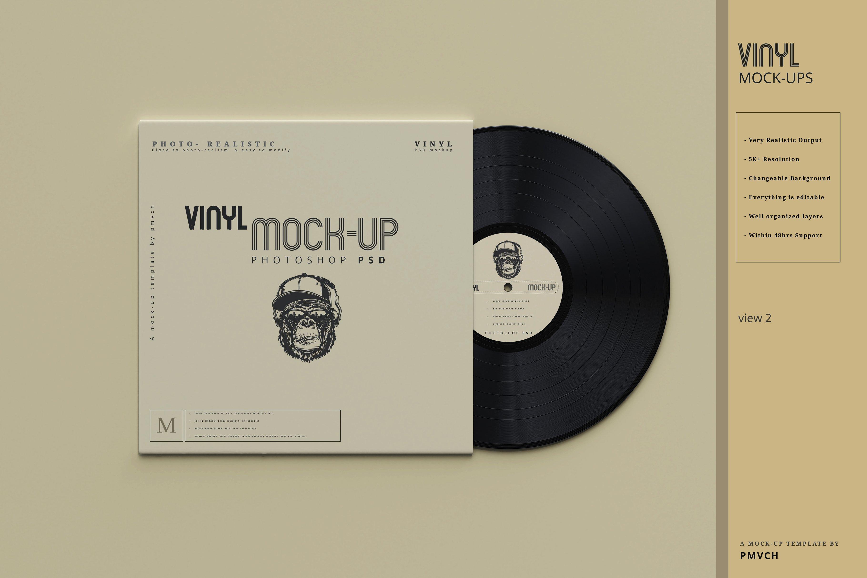 复古逼真黑胶唱片包装纸袋设计贴图样机模板 Vinyl Mockups插图(1)