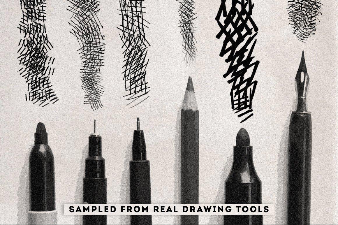 15款手绘交叉阴影素描绘画笔触Procreat&PS笔刷 Crosshatching Procreate & Photoshop Brushes插图1