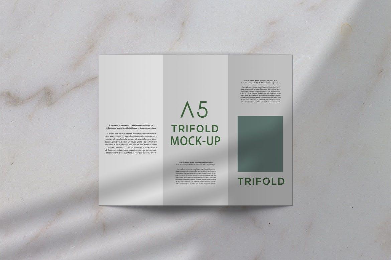 三折页小册子设计展示贴图样机PS素材 Trifold Brochure Mockup插图(1)