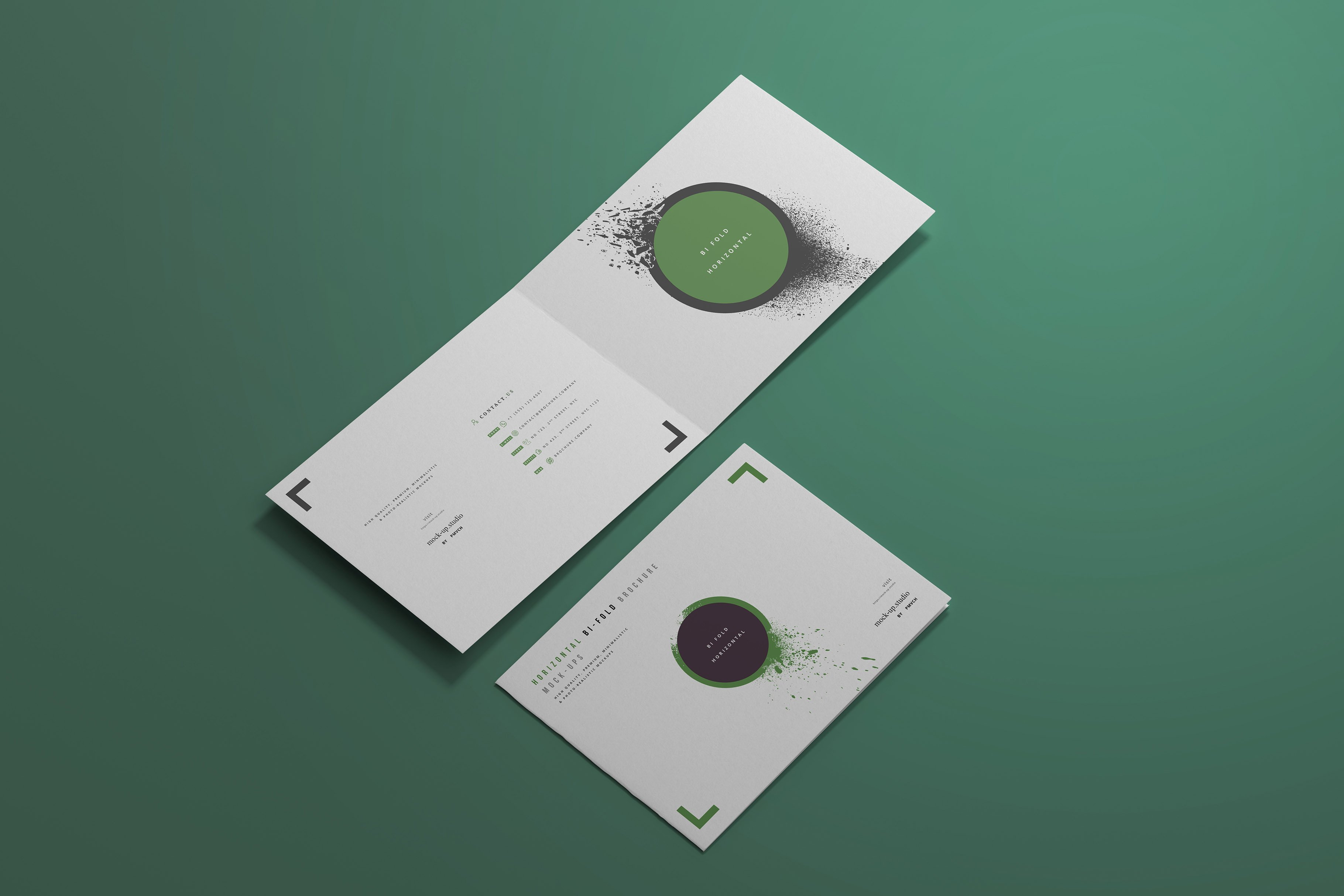8款A4两折页小册子设计展示贴图样机模板 A4 Bi-Fold Horizontal Mockups插图(2)