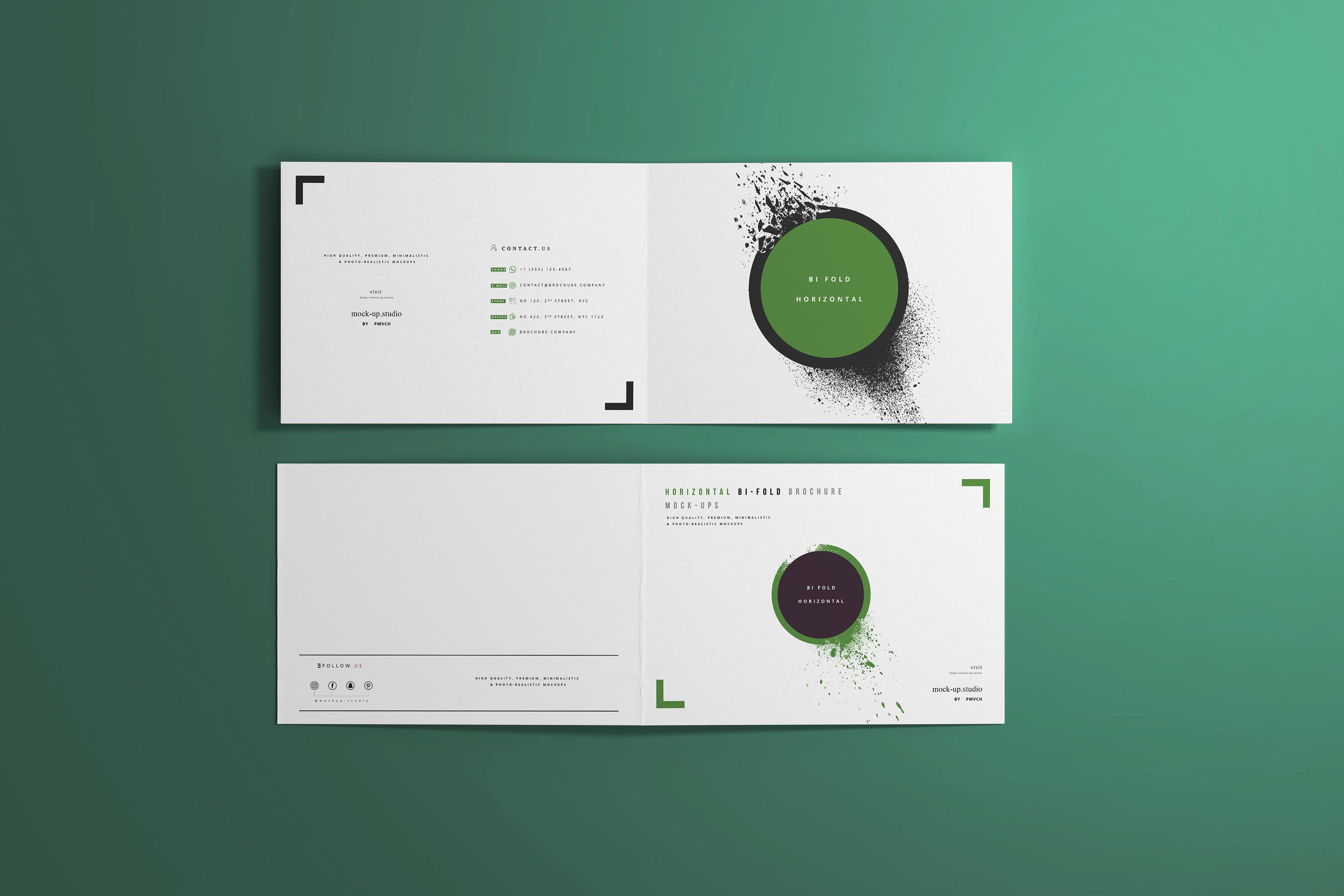 8款A4两折页小册子设计展示贴图样机模板 A4 Bi-Fold Horizontal Mockups插图(3)