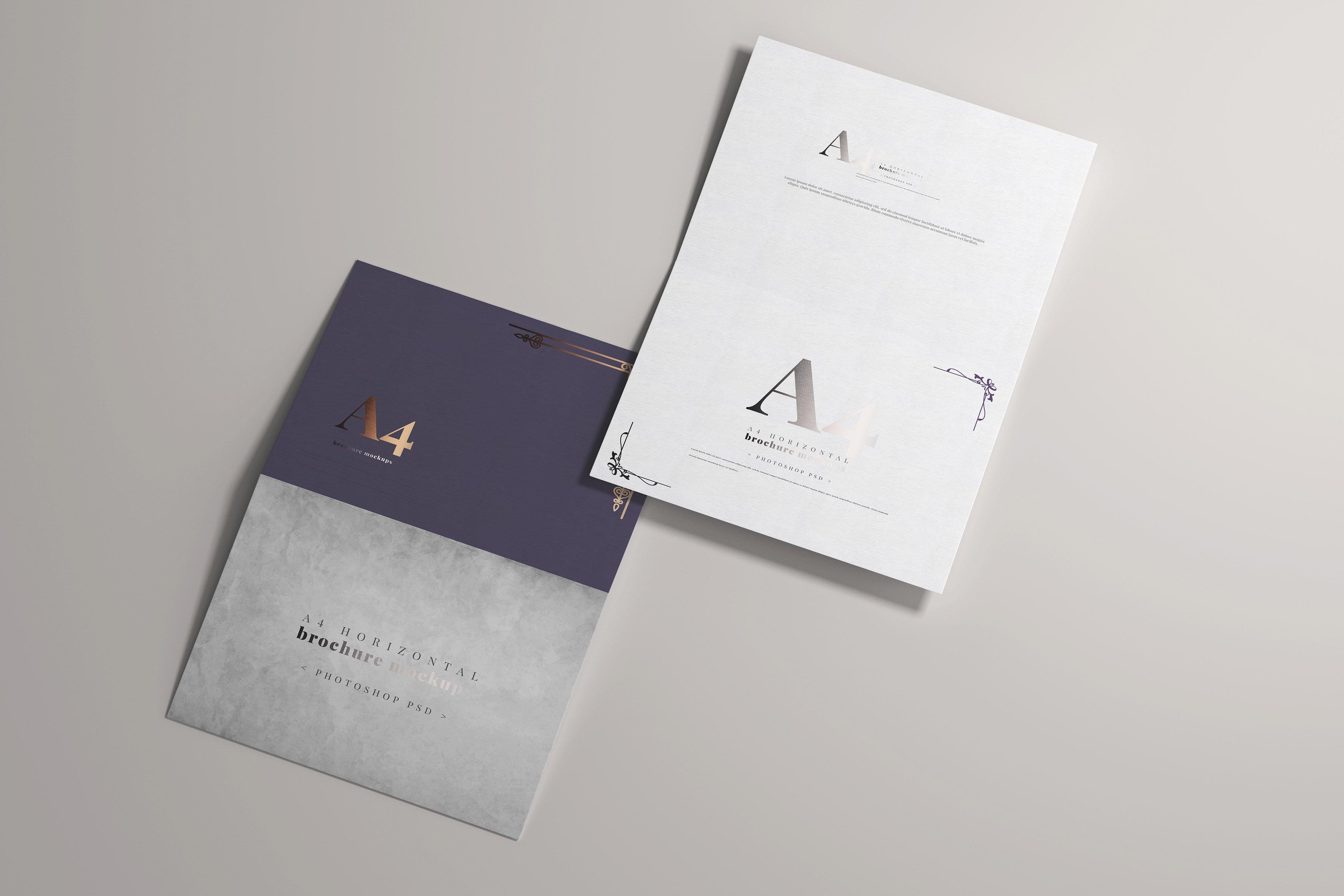 8款烫印效果A4横向两折页小册子设计展示贴图PSD样机模板 A4 Bi-Fold Horizontal Mockups插图(3)
