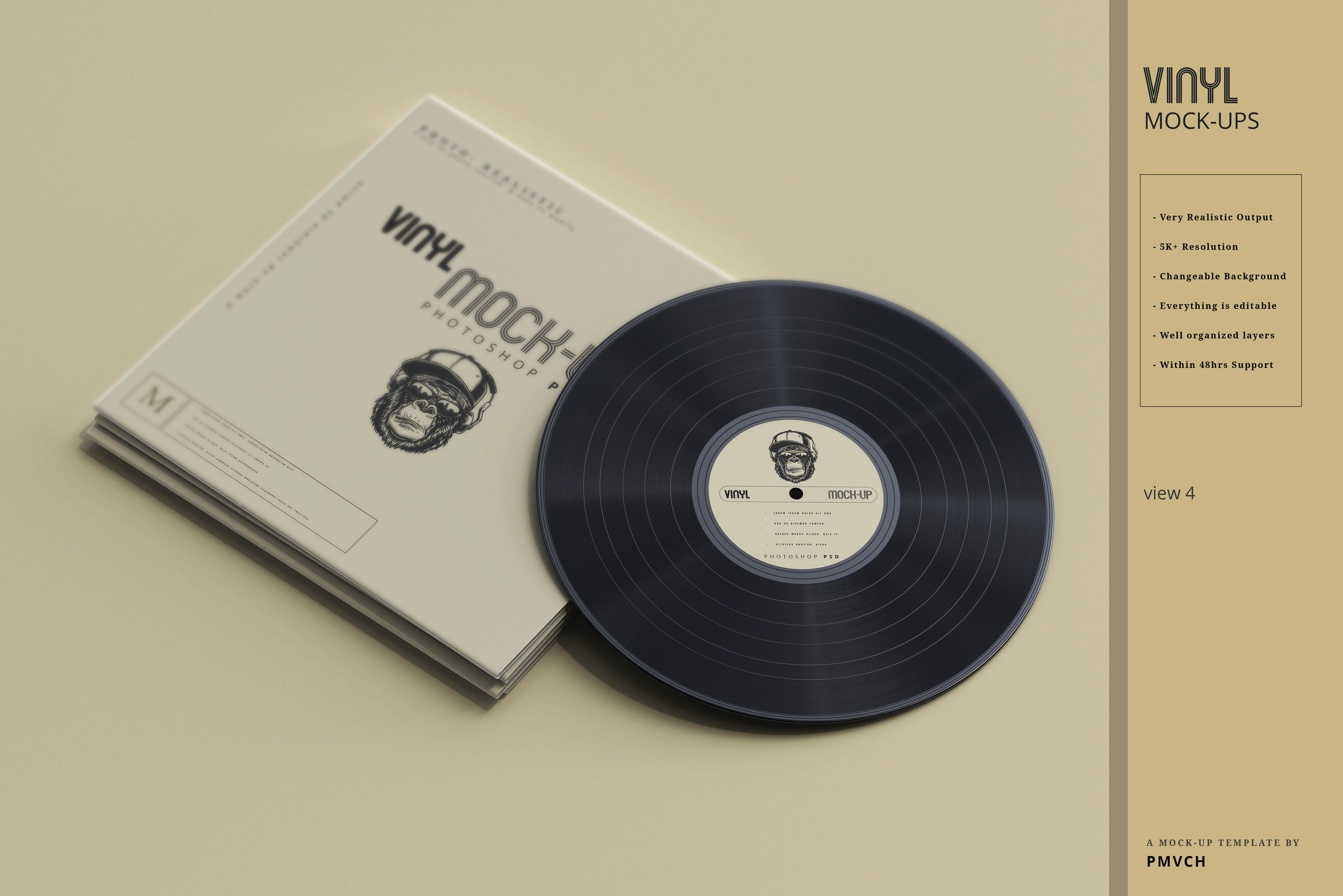 复古逼真黑胶唱片包装纸袋设计贴图样机模板 Vinyl Mockups插图(3)