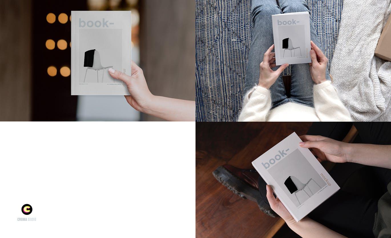 22款精装书画册封面设计展示样机PSD模板 Book Cover Mockups Pack插图(3)