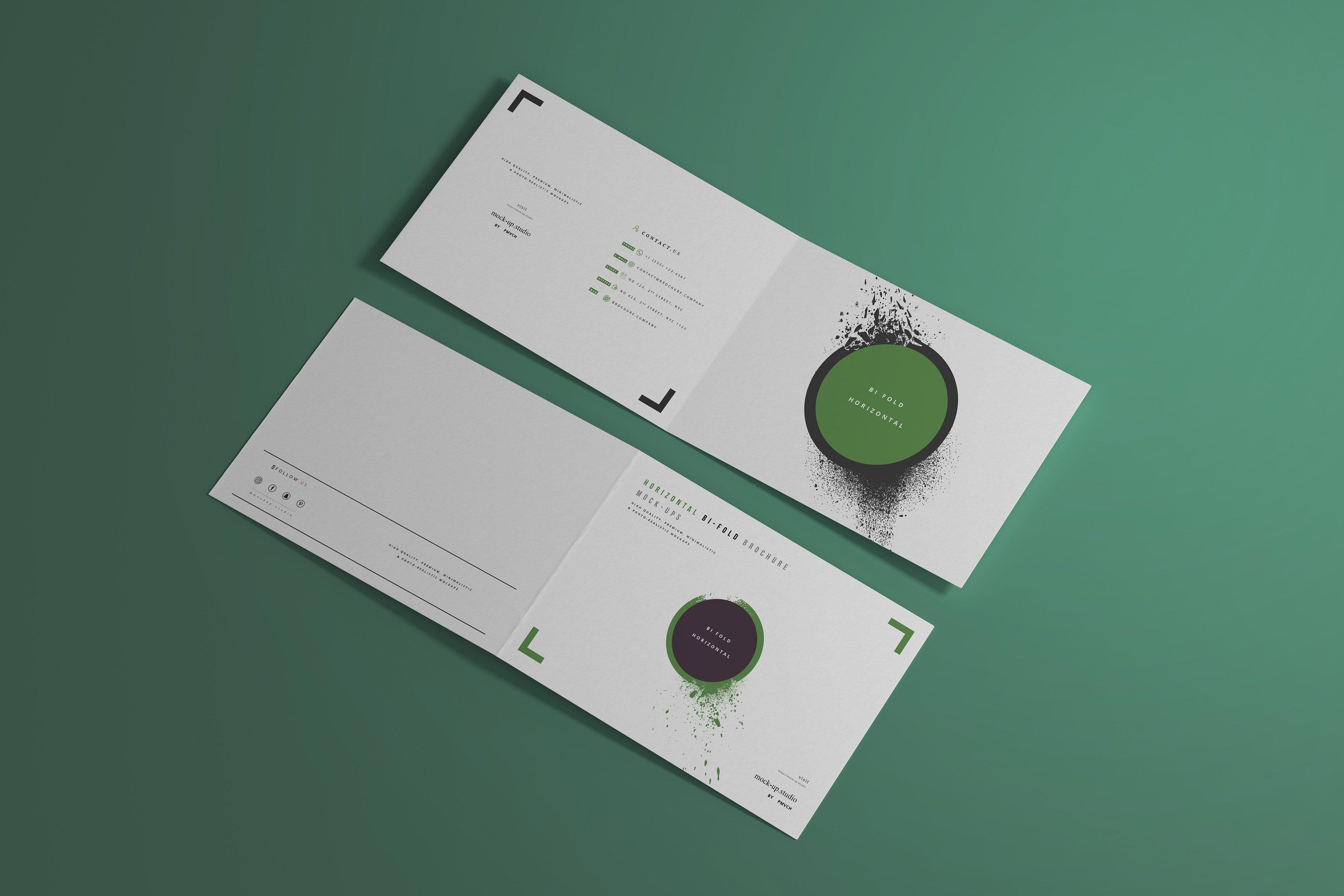 8款A4两折页小册子设计展示贴图样机模板 A4 Bi-Fold Horizontal Mockups插图(4)