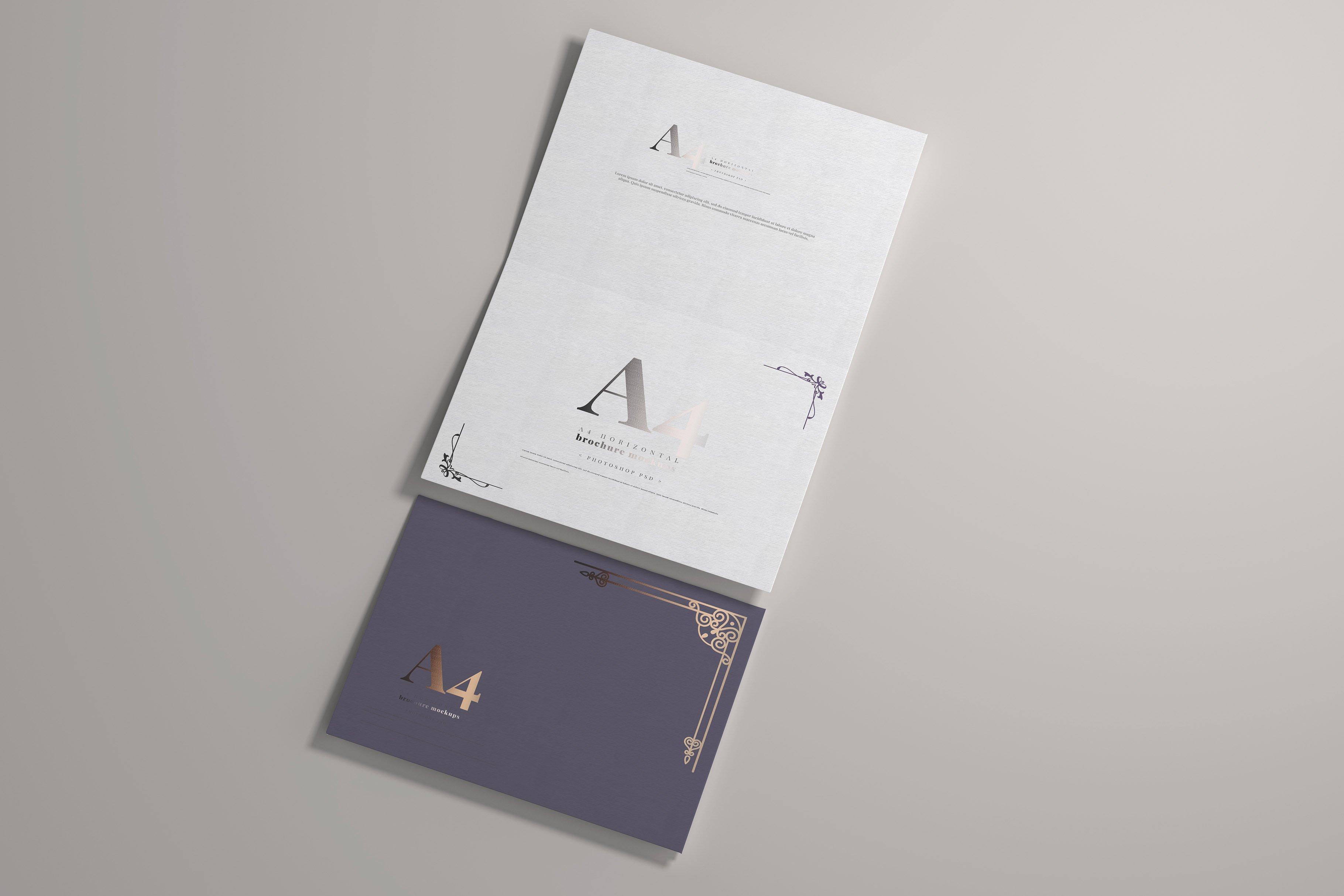 8款烫印效果A4横向两折页小册子设计展示贴图PSD样机模板 A4 Bi-Fold Horizontal Mockups插图(4)