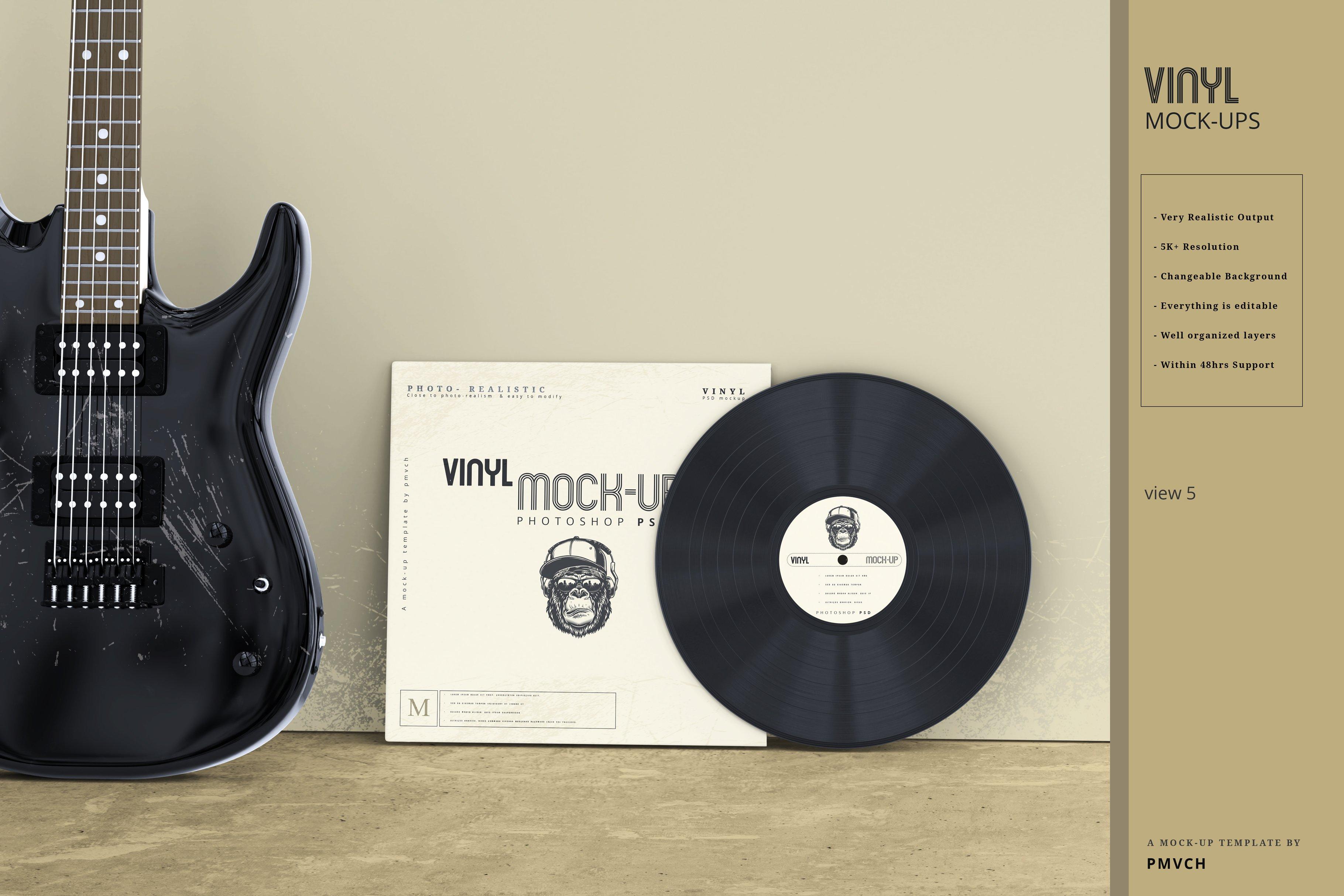 复古逼真黑胶唱片包装纸袋设计贴图样机模板 Vinyl Mockups插图(4)