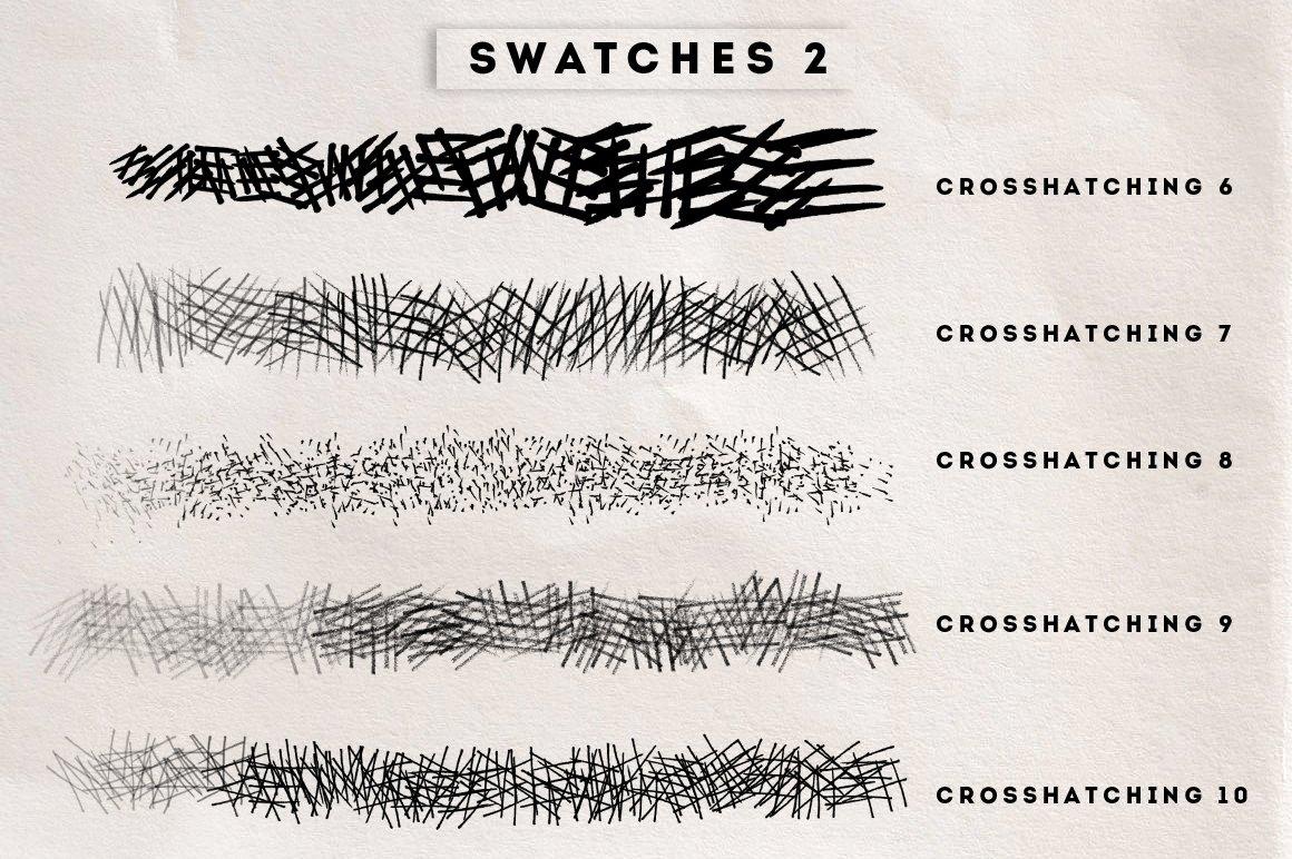 15款手绘交叉阴影素描绘画笔触Procreat&PS笔刷 Crosshatching Procreate & Photoshop Brushes插图4