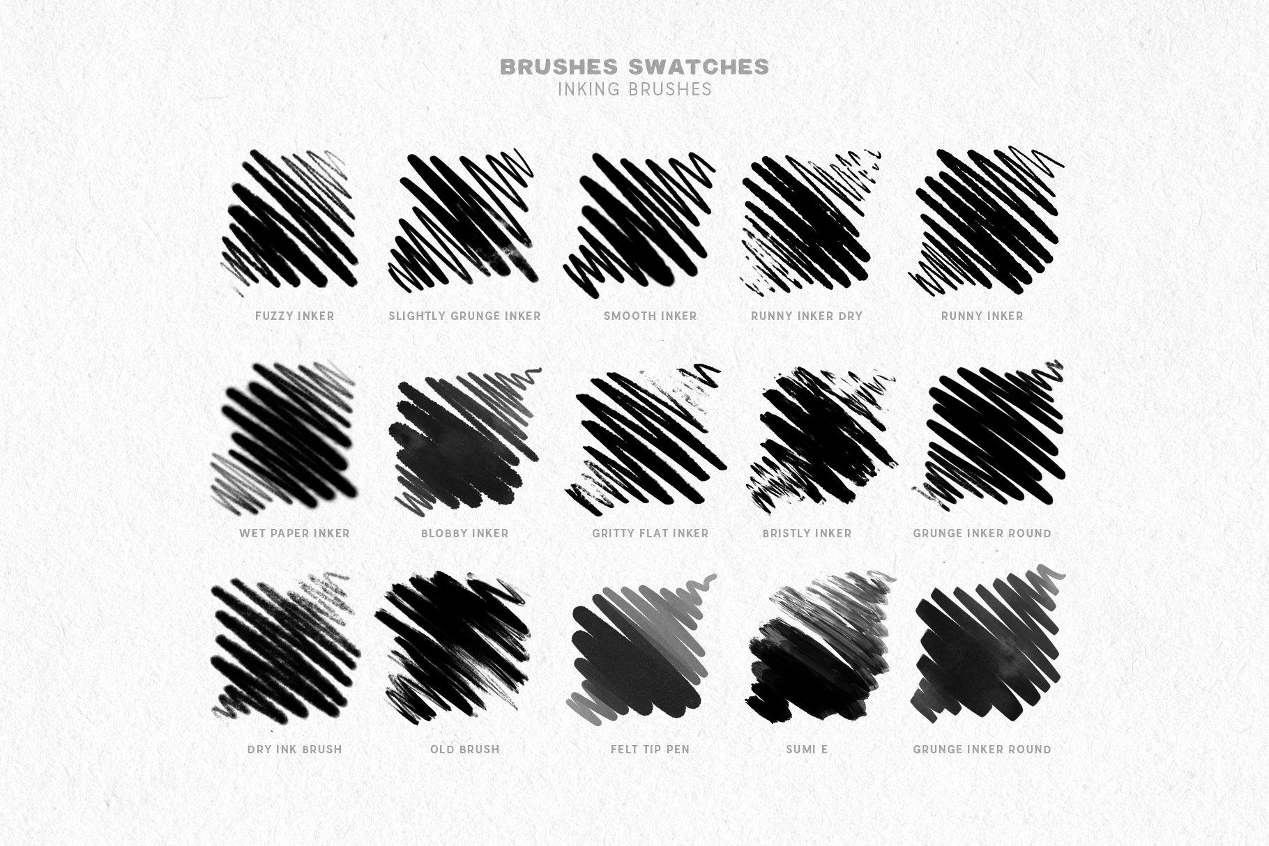 27款墨水阴影点状线条效果绘画画笔Procreate笔刷 Inktober Procreate Brushes插图(4)