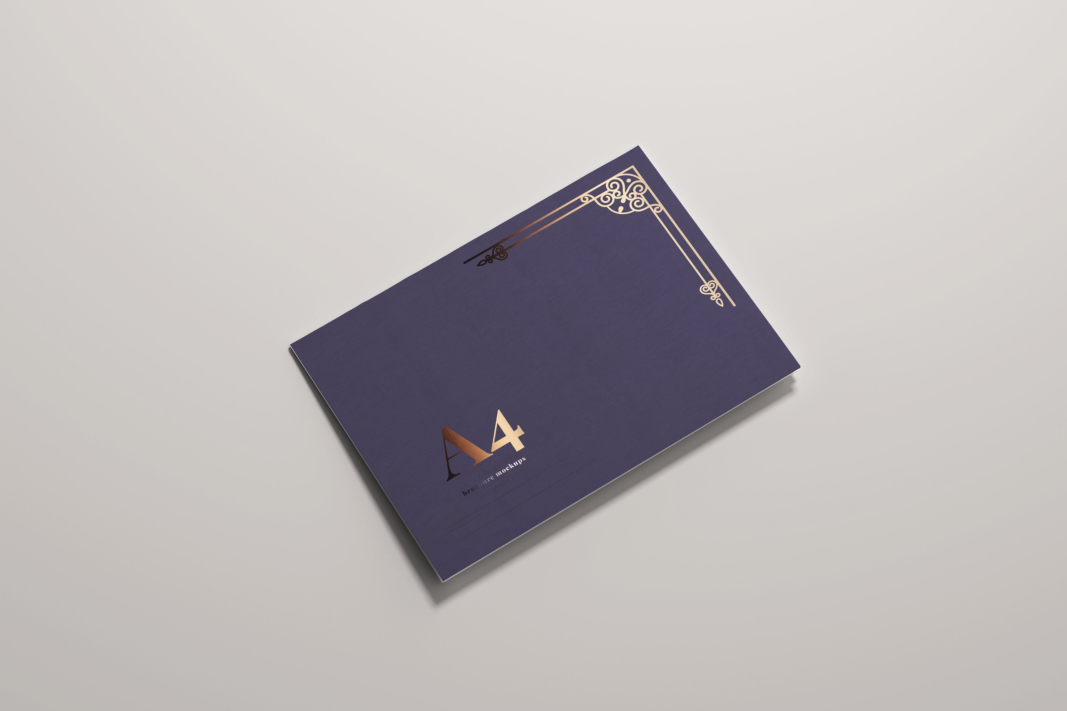 8款烫印效果A4横向两折页小册子设计展示贴图PSD样机模板 A4 Bi-Fold Horizontal Mockups插图(5)
