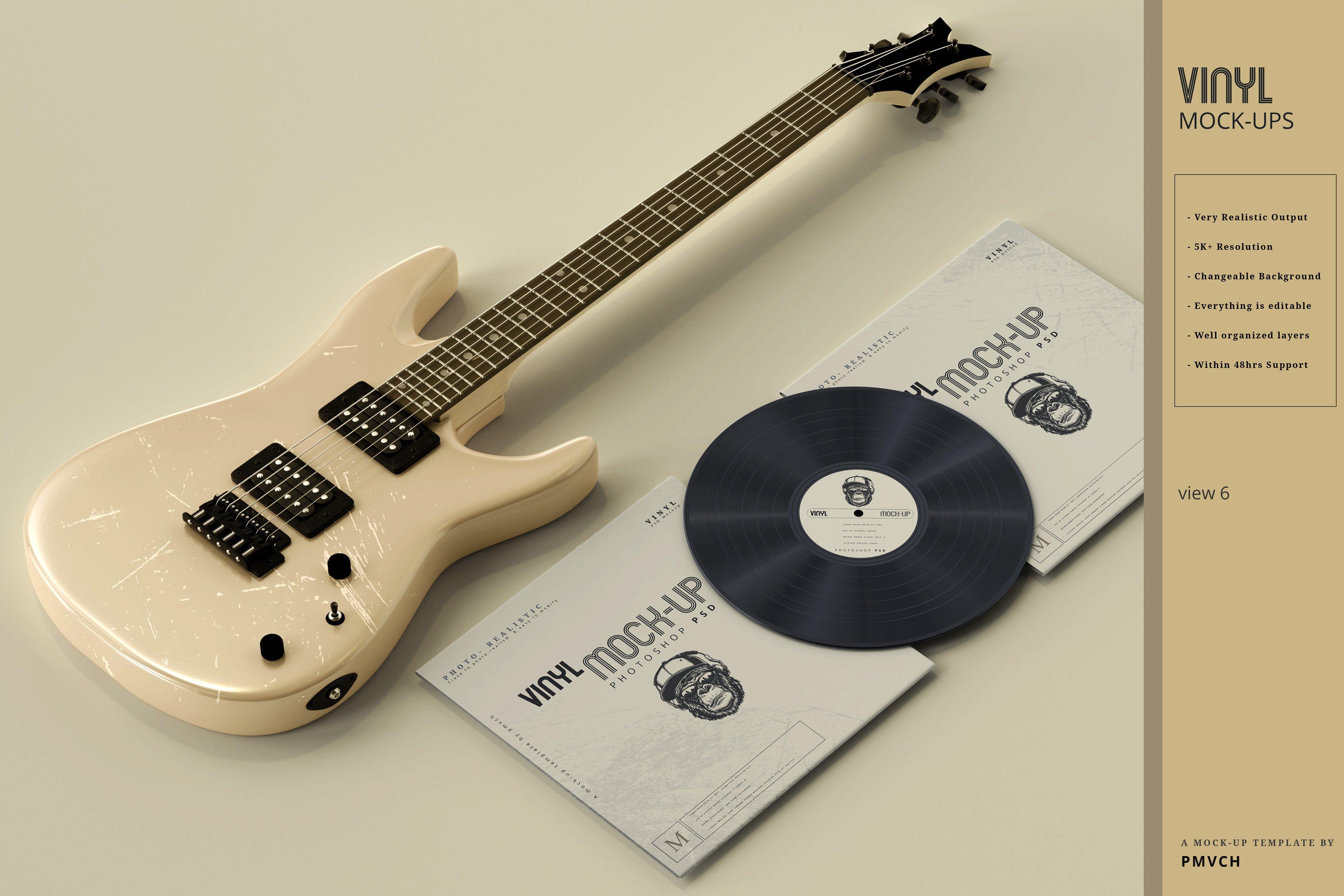 复古逼真黑胶唱片包装纸袋设计贴图样机模板 Vinyl Mockups插图(5)