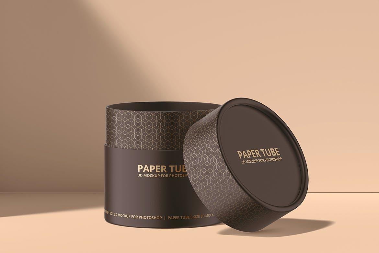茶叶产品纸管包装罐设计展示贴图样机模板合集 Paper Tube Mockup Set 1插图(5)