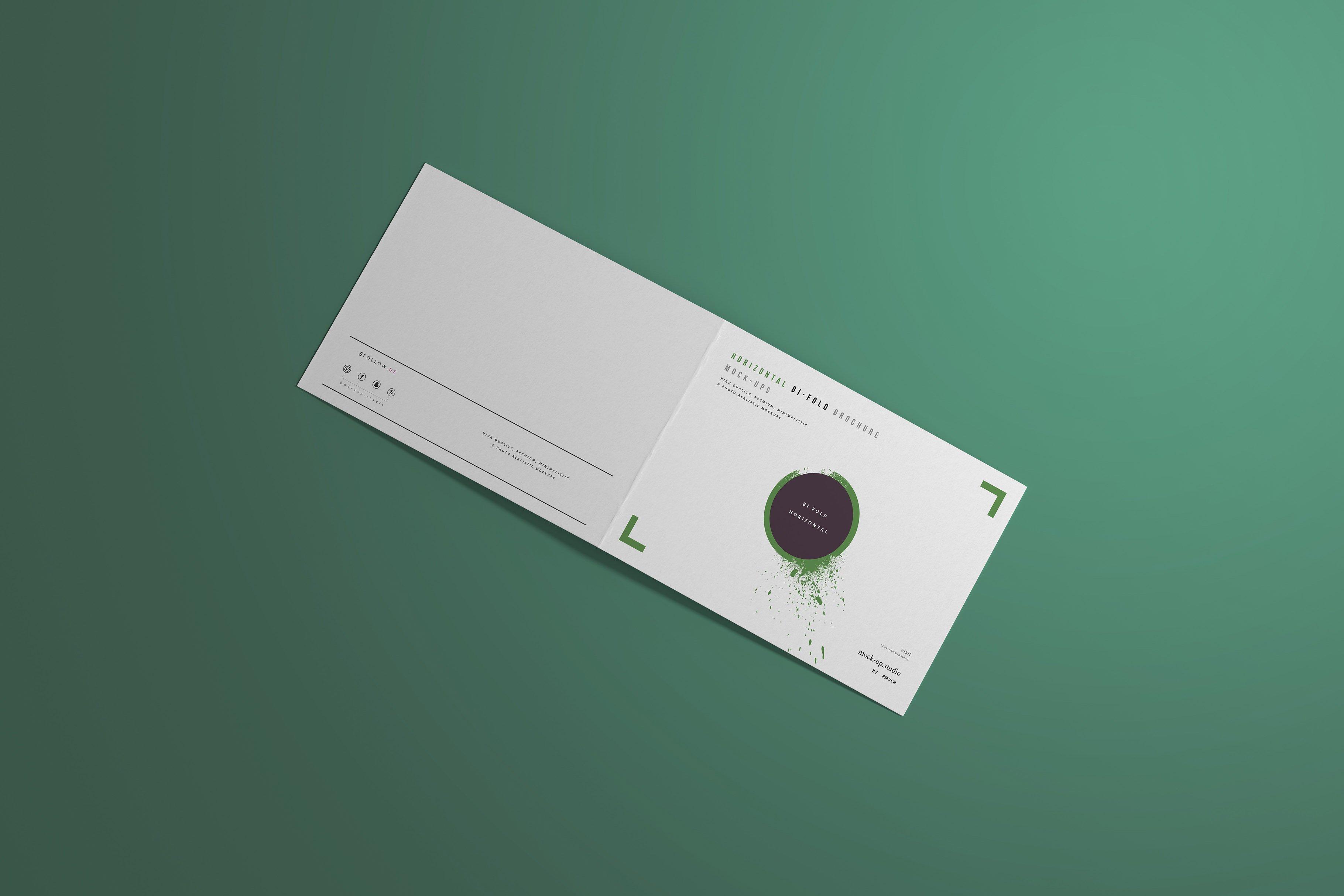 8款A4两折页小册子设计展示贴图样机模板 A4 Bi-Fold Horizontal Mockups插图(6)